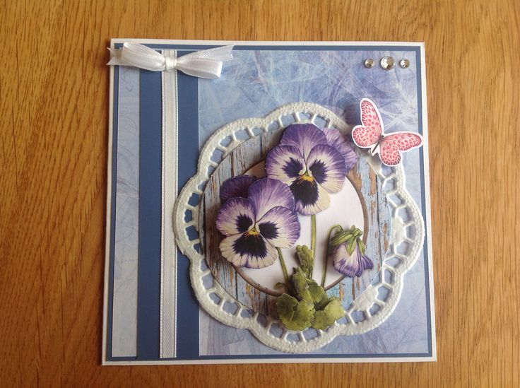 3D flowercards with violins - 3D bloemenkaart met viooltjes