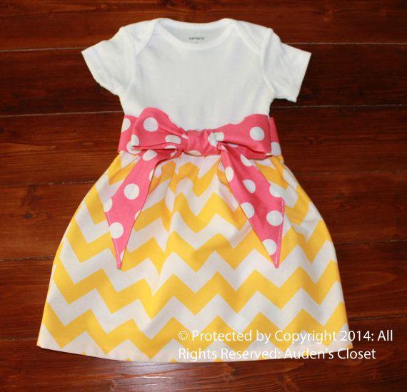 Pink Lemonade Party Dress, Girls Pink Chevron Onesie Dress, Infant Toddler Pink and Yellow Polka Dot Dress, Strawberry Lemonade