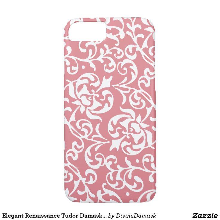 Elegant Renaissance Tudor Damask Pink and White iPhone 7 Case