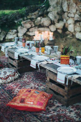 Boho wedding reception | Reego Photography | see more on: http://burnettsboards.com/2015/03/wildly-bohemian-wedding-inspiration-shoot/
