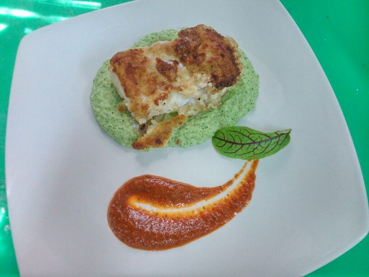 Shallow fried king klip with broccoli puree and roasted red pepper sauce