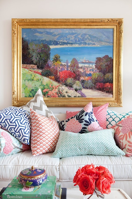 .Decor, Living Room, Mixed Prints, Cushions, Colors Schemes, Pillows Pattern, Throw Pillows, Throwpillows, Mixed Pattern