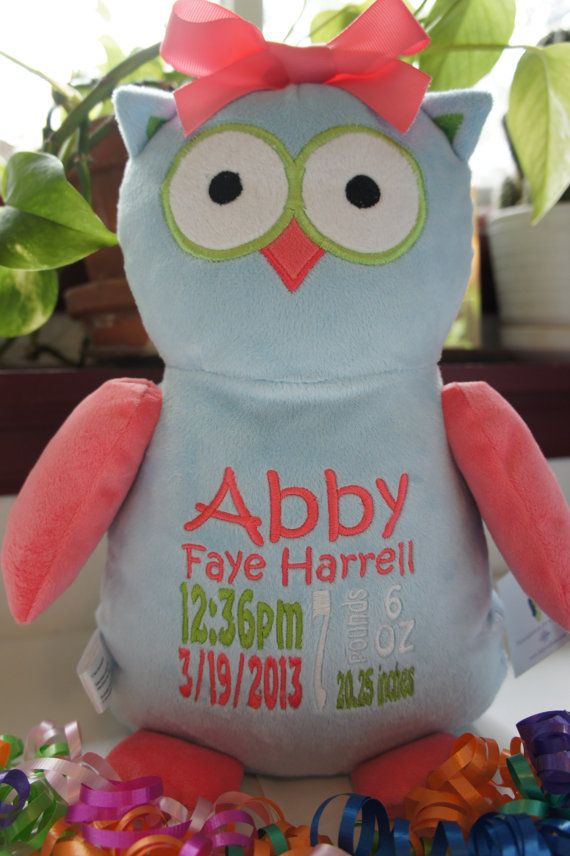 Personalized Baby Gift Baby Cubbies Hooty Lou The Owl Birth