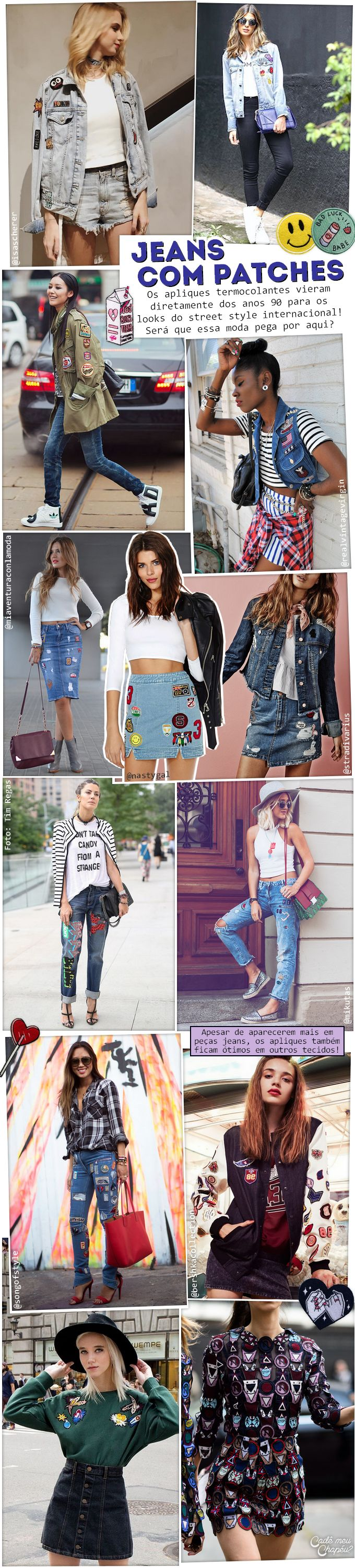 Jeans com Patches | Fashion week | Street style | Trend | Tendência | http://cademeuchapeu.com