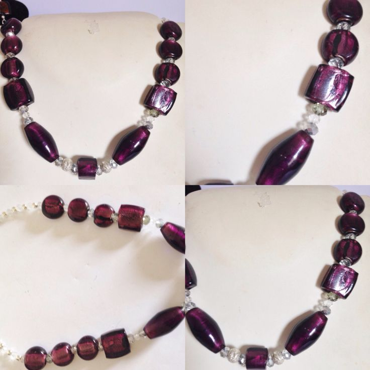 #collana in #vetro lavorato #bordeaux con decorazioni in #cristalli #trasparenti e #sfere di metallo. realizzato a #mano in #italia. più su ww.oro18.eu e info@oro18.eu  #hadmade #necklace with #dark #red #glass decorated with #transparent #crystals and ##metal. more on www.oro18.eu and info@oro18.eu