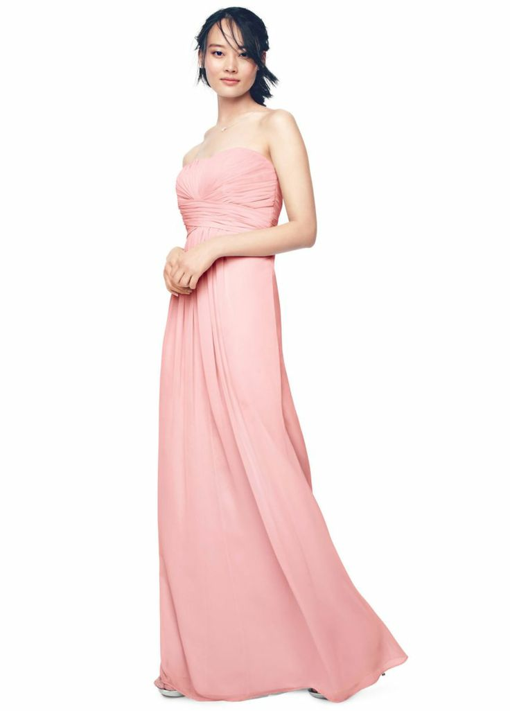 Side View David S Bridal Long Strapless Chiffon Dress