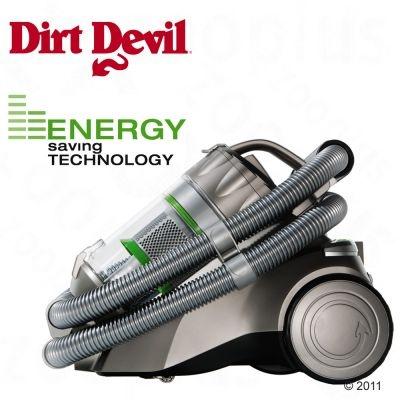 Energooszczędny bezworkowy odkurzacz Dirt Devil z technologią multicyklonową - duża moc zasysania przy niskim zużyciu energii.