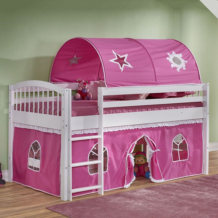 Bolton Addison Junior Pink Playhouse Loft Bed, White