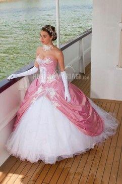 Robe de mariée en couleur sans bretelles longue taffetas