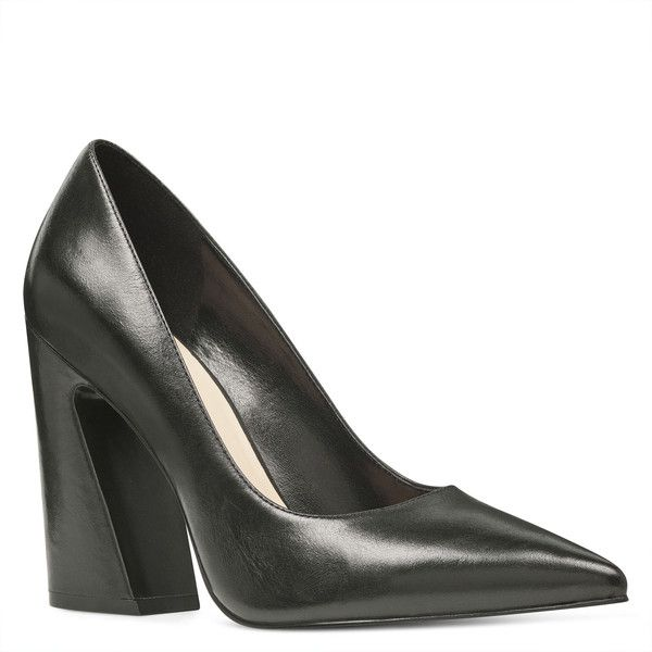 Nine West Henra Pointy Toe Pumps ($99) ❤ liked on Polyvore featuring shoes, pumps, black, leather shoes, high heel pumps, black leather pumps, leather pointed toe pumps and black pointed-toe pumps