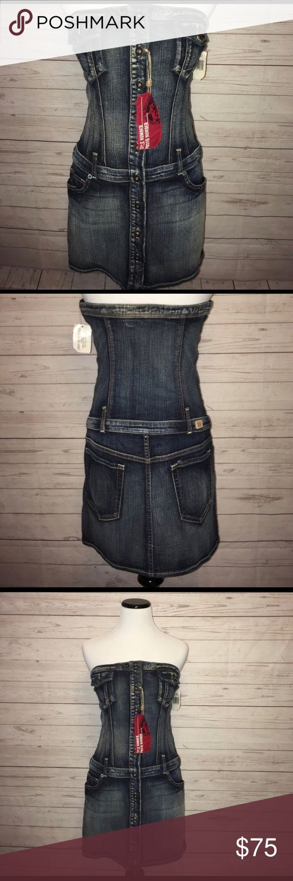 NWT GUESS jeans Vintage denim dress Excellent and gorgeous new with tags vintage guess jeans denim strapless dress. Bought this for myself but it's too small! Tags say size large so I'm going to say it's a juniors size large or a ladies small to medium. Guess Dresses Strapless