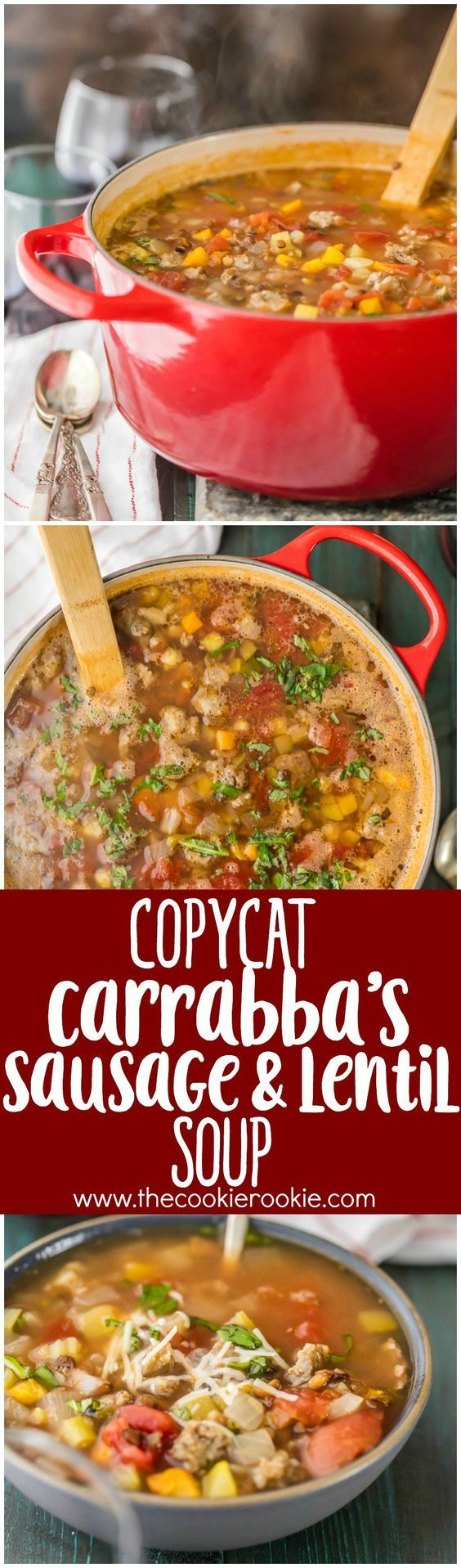 Copycat Carrabba's Sausage and Lentil Soup...your favorite restaurant comfort food made easy at home! This soup is such an EASY RECIPE and you can freeze it. -Perfect with Johnsonville Italian Sausage.
