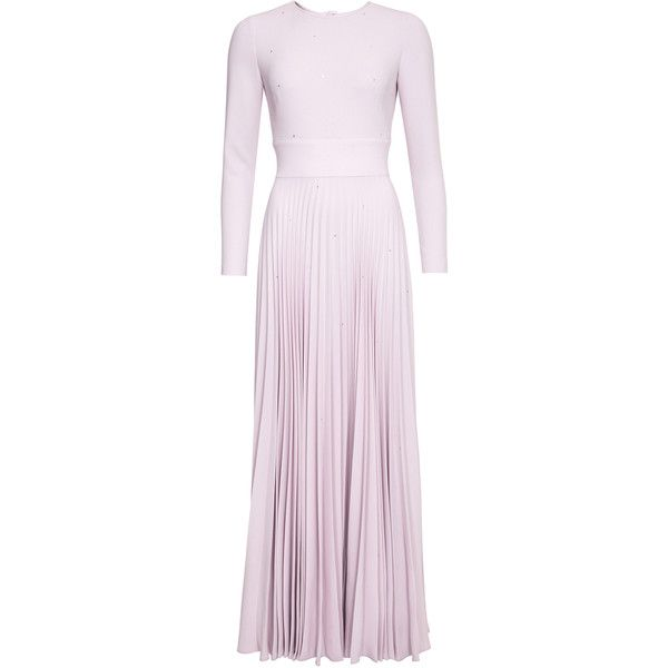 Lilli Jahilo Lara Pleated Crepe Gown ($1,545) ❤ liked on Polyvore featuring dresses, gowns, pink, long-sleeve maxi dress, long sleeve ball gowns, long sleeve maxi dress, pink long sleeve dress and long sleeve gowns