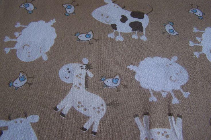 Jersey Kuh Pferd Farm Huhn Schaf Pony  beige Bauernhof Meterware ab 25cm x 150cm