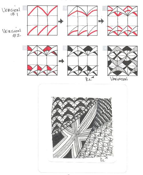 Steps for drawing the tangle pattern BOOMERANG