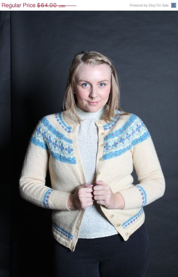 Big sale Sweater Cardigan Ski 1950s Vintage by BombshellShocked