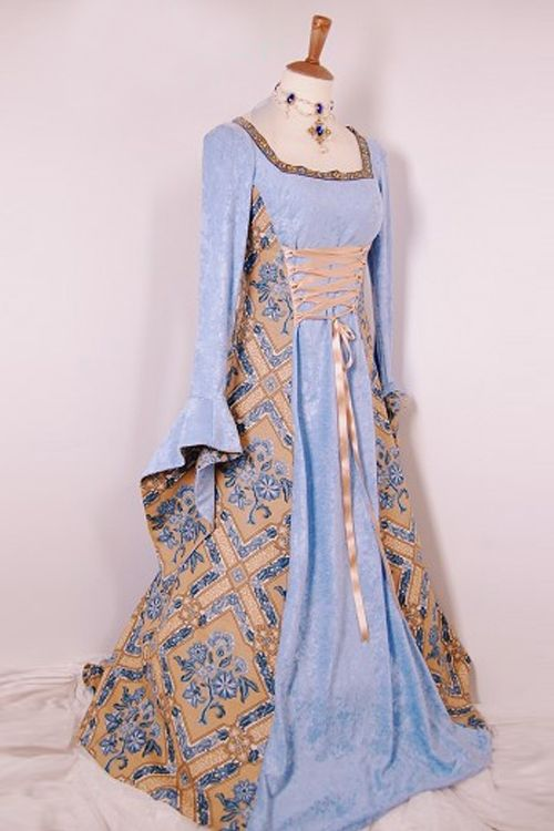 medieval clothing patterns | Pale Blue Medieval Queen Fancy Dress With Gold Pattern, Flared Sleeves ...