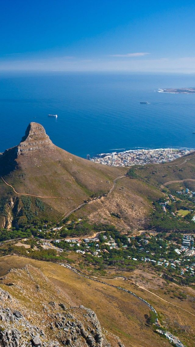. Views from of Lions Head & Table Bay from Table Mountain . Cape Town, South Africa. HC