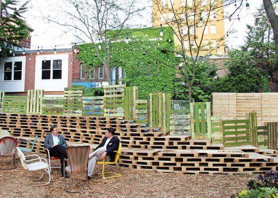 Photos for PHS Pop Up Garden | Yelp, Bleachers made of pallets