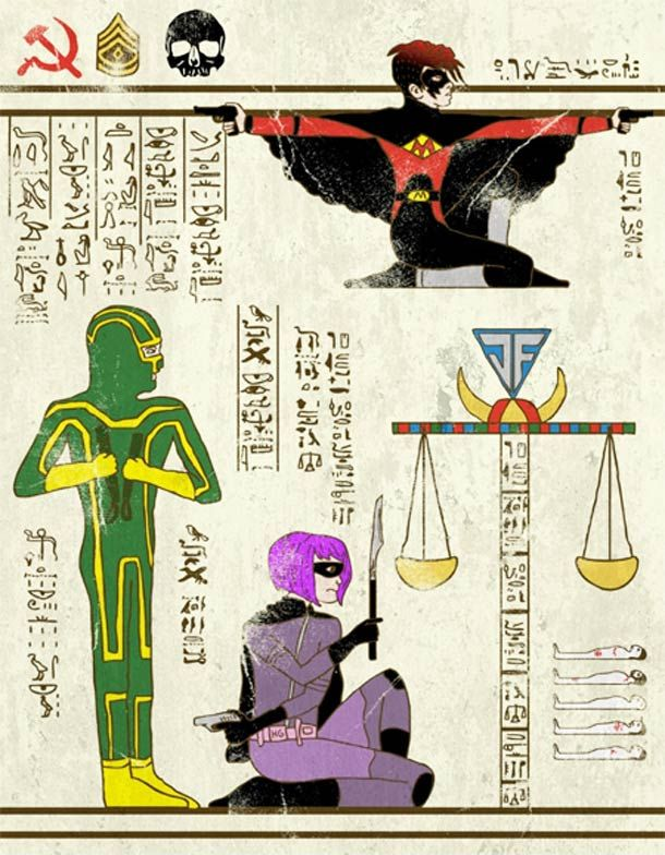 "Artist: Josh LN ~ """"Hero-Glyphics"" or when superheroes are invited in the papyrus of ancient Egypt. An excellent series featuring Spiderman, Thor, Captain America, or the Star Trek & Teenage Mutant Ninja Turtles! Artwork designed by artist Josh LN."" ~ This one: Kick Ass ~"