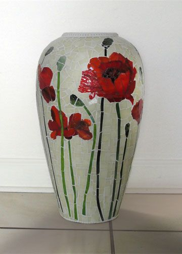 vase with pansy flowers - stained glass material