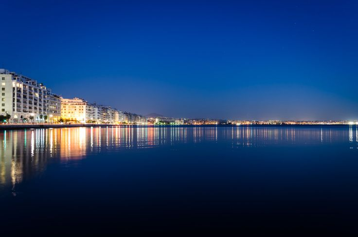 Interesting Facts About Greece: A night view of Thessaloniki and Thermaikos bay.