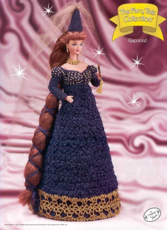 Crochet Barbie - The Fairytale Collection, Rapunzel pattern http://knits4kids.com/collection-en/library/album-view?aid=12069