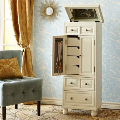 Ashworth Jewelry Armoire - Antique White