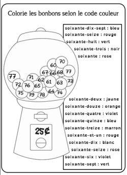 Colorie les bonbons selon le code couleur. Maths CP Autonomie. Nombres de 60 à 79.