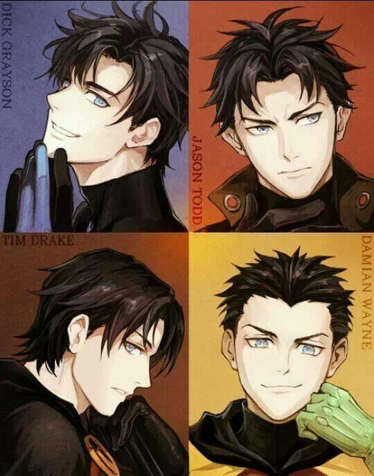 Anime style Robins from Batman. Dick Grayson aka Nightwing, Jason Todd aka The Red Hood, Tim Drake aka Red Robin and Damian Wayne.  Not my creation. Cannot locate original artist.