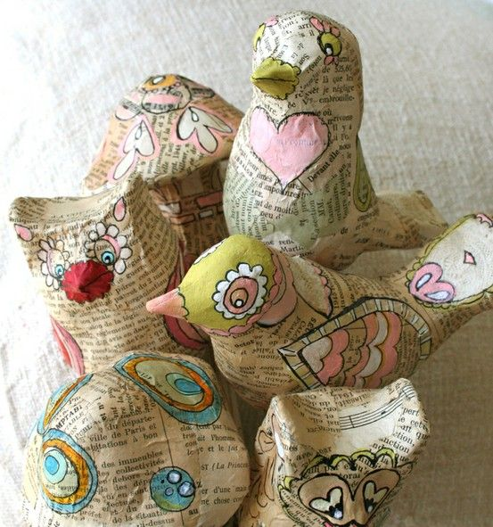 paper mache birds with book pages, so cute