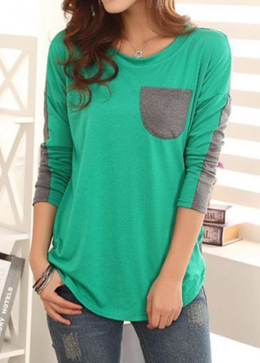 Green Pocket Embellished Long Sleeve T Shirt on sale only US$29.69 now, buy cheap Green Pocket Embellished Long Sleeve T Shirt at liligal.com