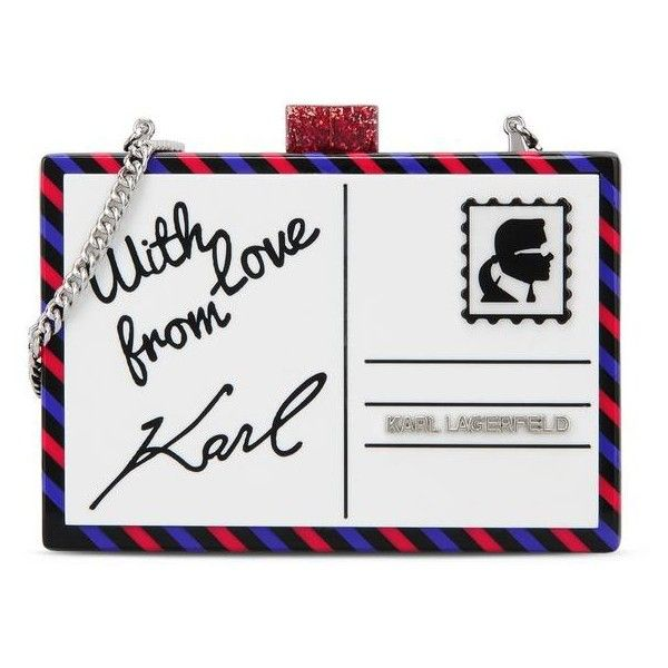 Karl Lagerfeld Postcard Minaudiere ($165) ❤ liked on Polyvore featuring bags, handbags, clutches, black, man bag, karl lagerfeld purse, karl lagerfeld handbags, hand bags and karl lagerfeld
