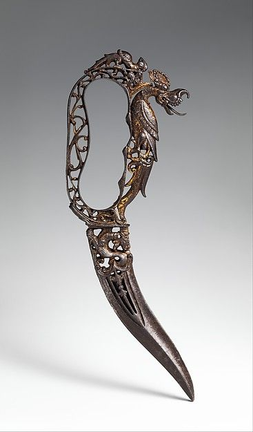 Ceremonial Dagger (Bichwa), 17th century. South Indian, Thanjavur. The Metropolitan Museum of Art, New York. Purchase, Arthur Ochs Sulzberger Gift, 2014 (2014.190) | This work is featured in our Arms and Armor Notable Acquisitions 2003–2014 exhibition on view through December 6, 2015. #sword