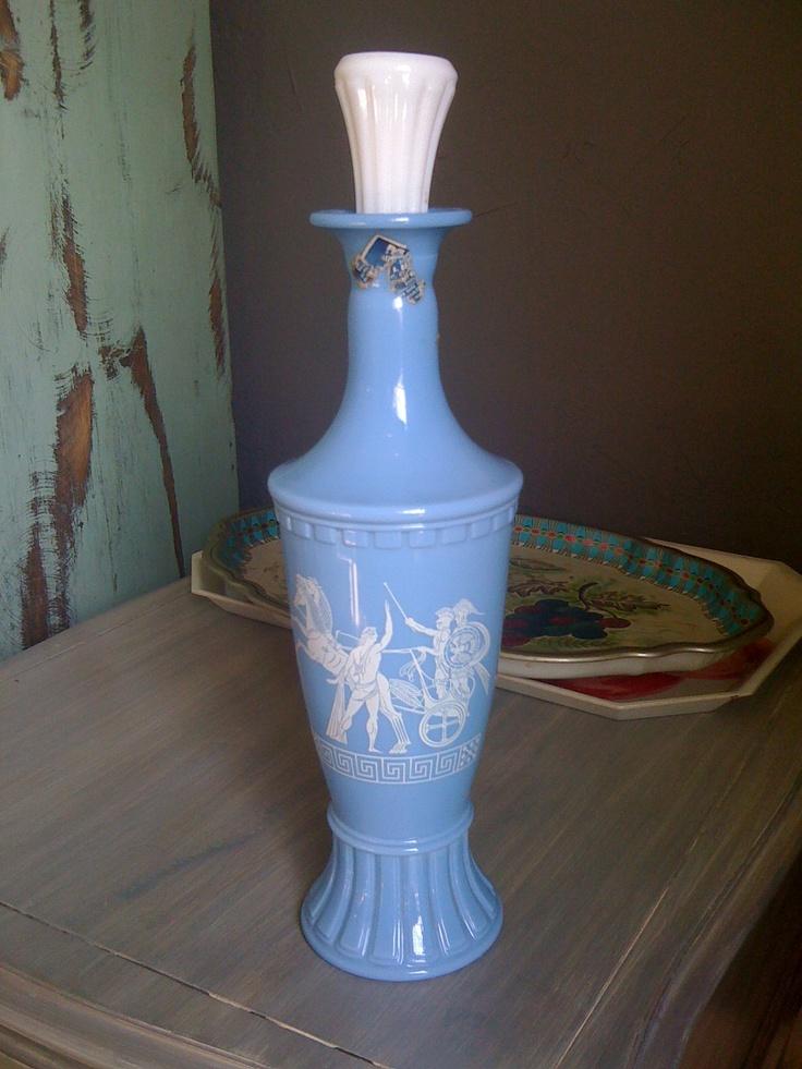 Blue White Milk Glass Liquor Decanter Quot Jim Beam Quot Greek Art 29 00 Via Etsy Decanters Milk