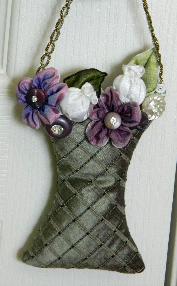 Moss Green Silk Lavender Sachet