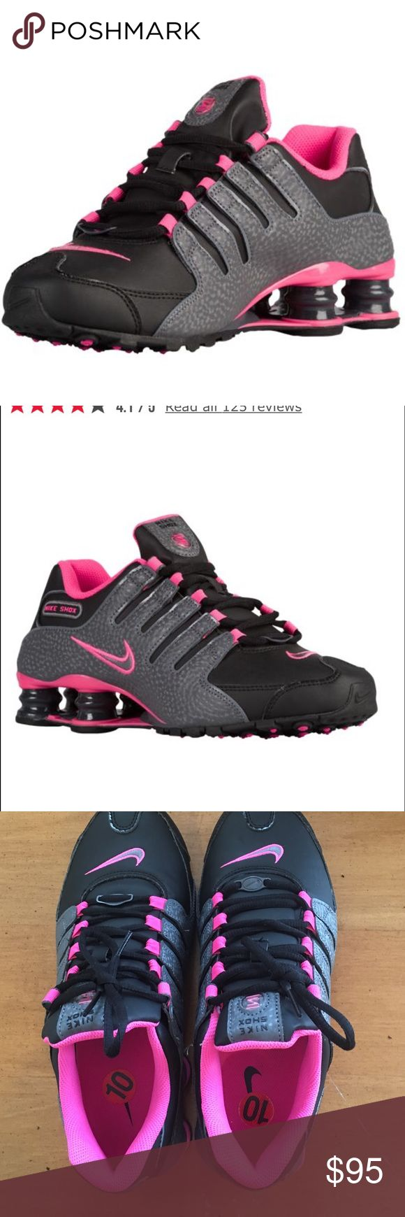 Nike Shox Nike Shox, Black, Grey, Hot Pink, WORN for 30 minutes! NO BOX INCLUDED, I accidentally threw away. Size 10, BRAND NEW Nike Shoes Athletic Shoes