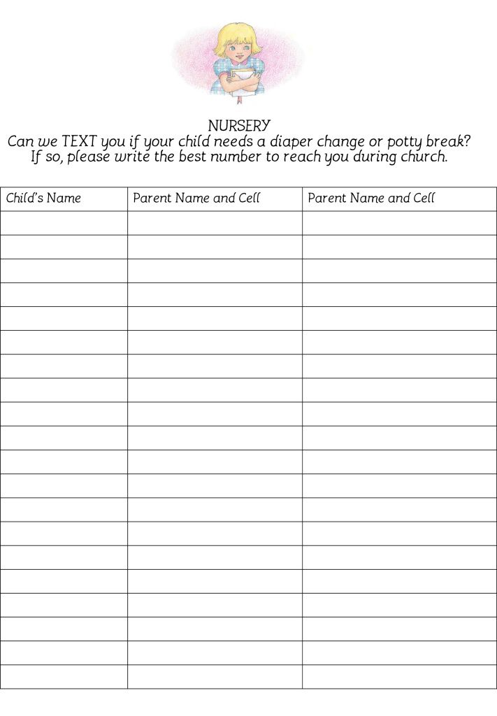 Church Nursery Sign In Sheet Template ~ TheNurseries