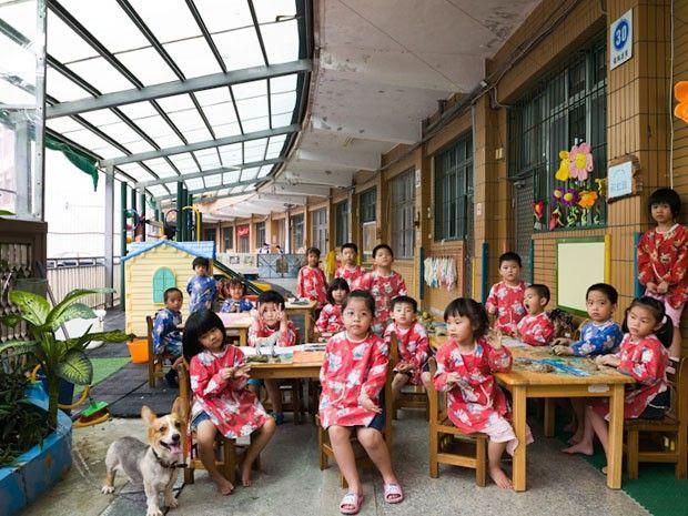 Ruei Fang, Taiwan, jardim da infância, aula de artes