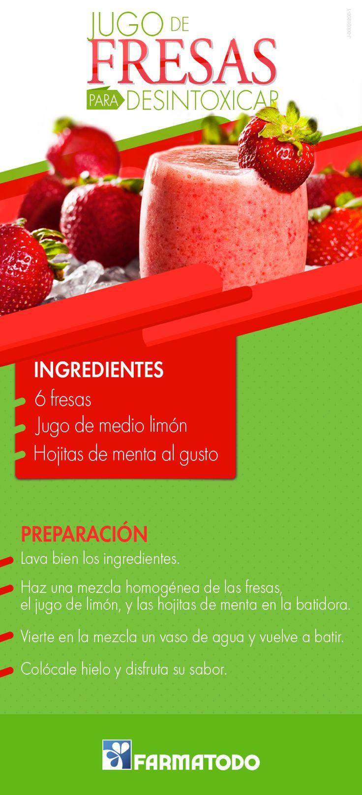 Las fresas, ricas en vitaminas y antioxidantes, son perfectas para depurar las toxinas de tu cuerpo de manera natural. ¡Prueba este rico jugo! #Salud #Alimentacion