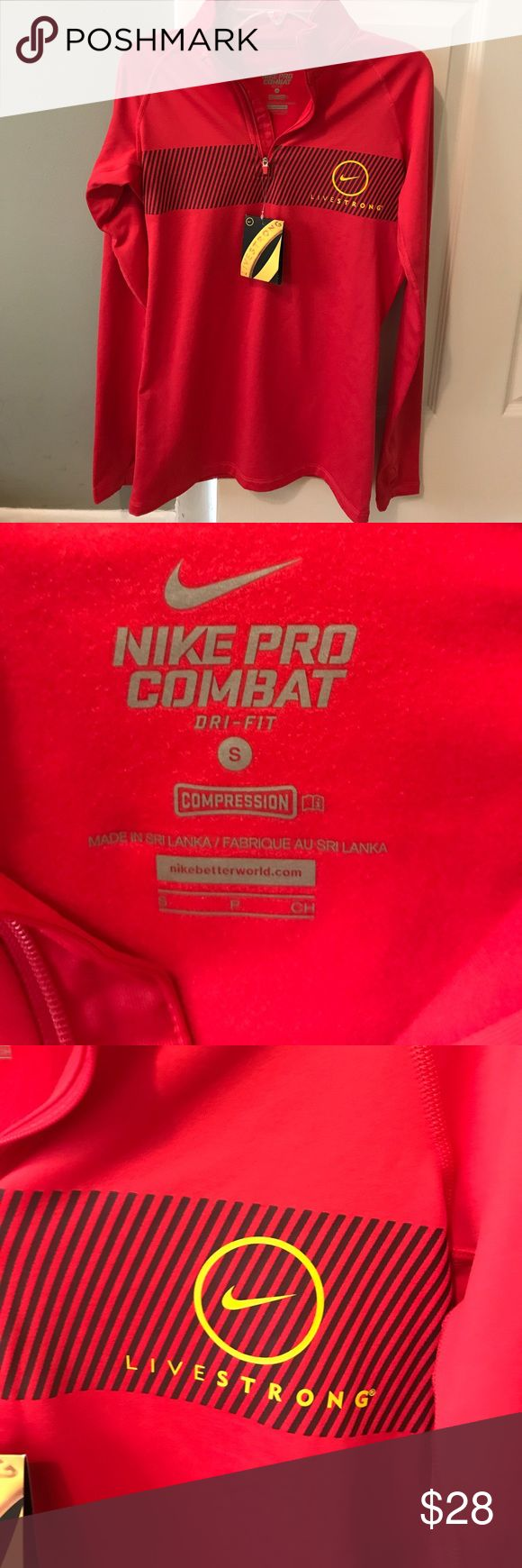 NWT woman's Nike Pro combat live strong zip jacket NWT woman's red Nike livestrong combat half zip jacket 88% polyester 12% spandex inside of zip up is very soft and comfortable perfect for working out or hanging around!!! LIVESTRONG!! Size small Nike Jackets & Coats