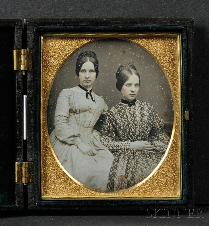 "Sixth Plate Daguerreotype Portrait of Two Young Ladies, in a black ""Geometric Scroll"" (Krainik 278) Union case, (dust and minor spiders"