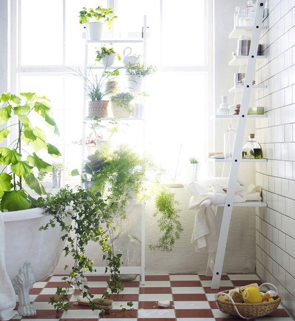 ikea Hjalmaren shelf for plants via gardenista