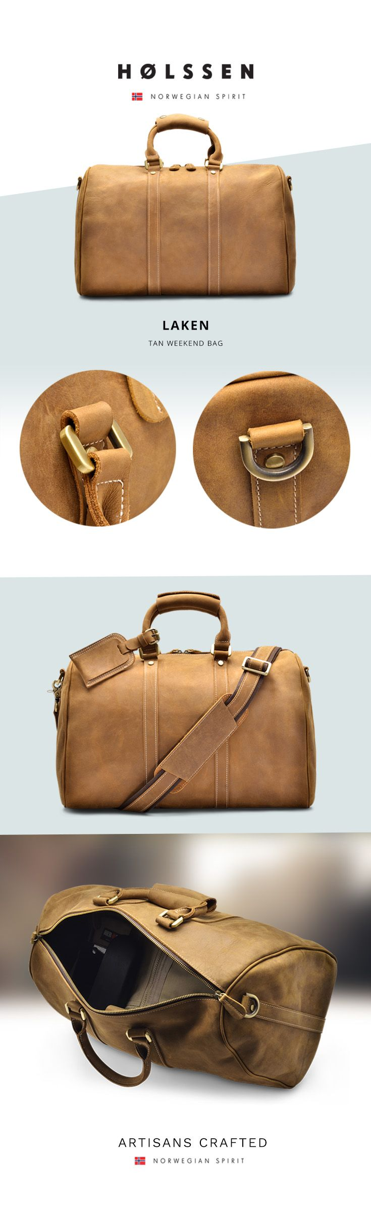 Leather Weekender Bag Duffel Travel bag - Perfect for weekend getaways or as a personal bag on your flights.