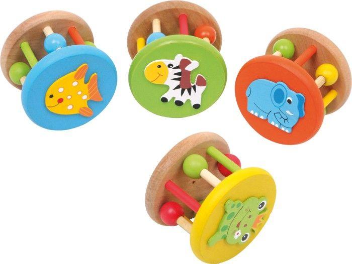 4 SONAJEROS DE MADERA CON DIBUJOS DE ANIMALES PARA BEBÉS Set de 4. Los pequeños pueden reconocer palpando los sonidos y las formas con estas sonajas de madera de haya. Con inocentes dibujos, pequeños cascabeles y esferas de madera movibles en los bastones, estos sonajeros son ideales juguetes para desarrollar los sentidos. Medidas aproximadas: 5 x 7 cm  http://www.babycaprichos.com/4-sonajeros-de-madera-con-dibujos-de-animales-para-bebes.html