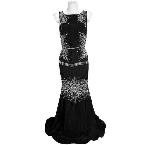 cheaper f582a 15551 ROBERTO CAVALLI - abito da sera lungo nero con decorazioni ...