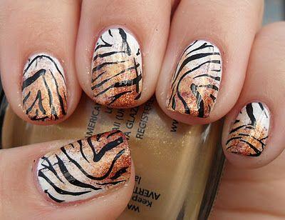 animal print nails ~ TIGER!!!