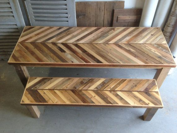 Reclaimed Pallet and Barn Wood Kitchen Table with Matching Bench Chevron  Dining. 53 best images about Barn Wood Kitchen Table on Pinterest   Barn