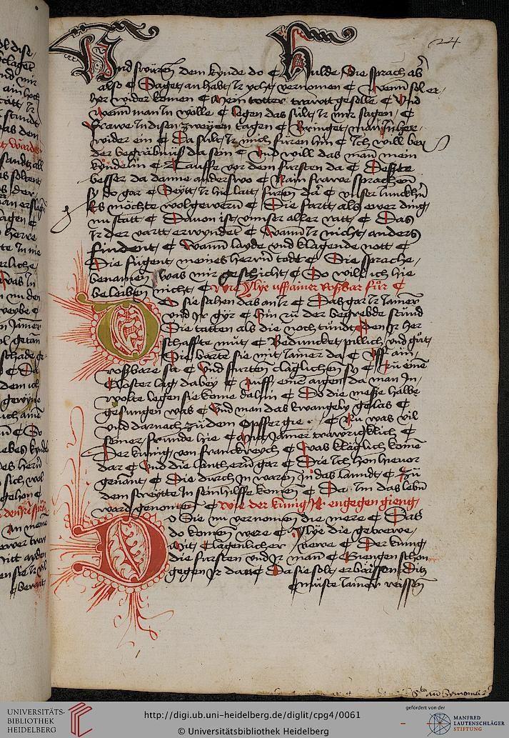 Cod. Pal. germ. 4 Rudolf von Ems: Willehalm von Orlens ; Dietrich von der Glesse: Der Gürtel (Borte) ; Peter Suchenwirt: Liebe und Schönheit u.a. — Schwaben/Grafschaft Oettingen (?), 1455-1479 24r