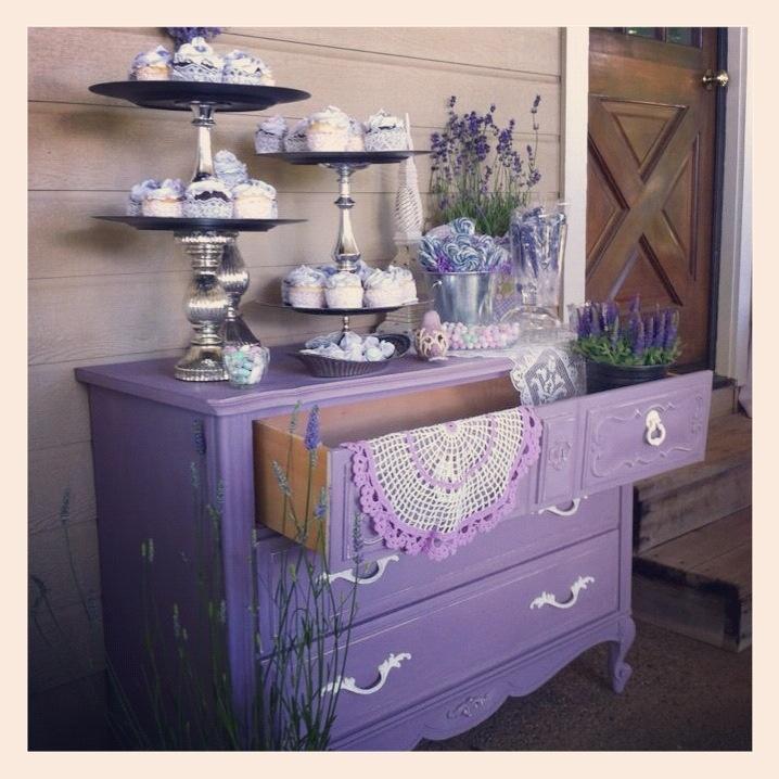 Annie Sloan color 'Emilie' on a garage sale find dresser...worked perfect for baby Emilie's shower.